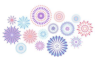 Festive fireworks. Celebration party firework, festival firecracker an
