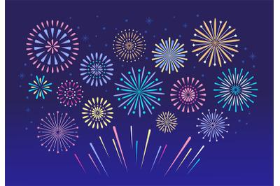 Colorful fireworks. Celebration fire firework, christmas pyrotechnics