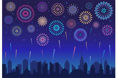 Night city fireworks. Holiday celebration firework, celebrated festive