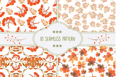 Autumn mood.  10 seamless patterns with autumn leaves, berries, Rowan.