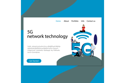 5G network technology homepage vector
