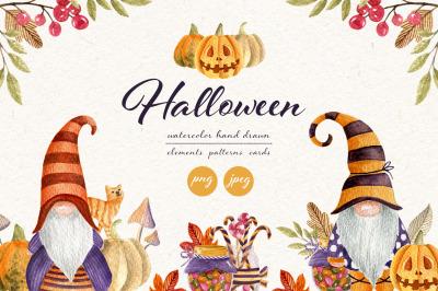 Halloween set. Watercolor gnomes