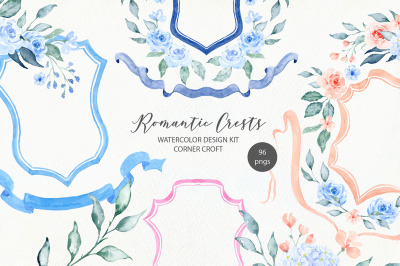 Watercolor Romantic Crest Design Kit