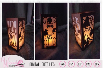 Happy fall lantern template, pumpkin and leaves,