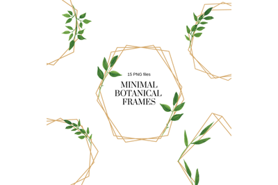 Minimal Geometric Frames, Botanical Watercolor Frames Clipart, Frames