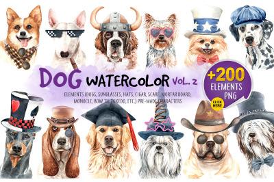 Dog watercolor.Animal Clip art. Dog watercolor painted SetCD