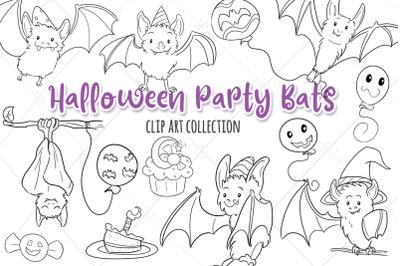 Halloween Party Bats Digital Stamps