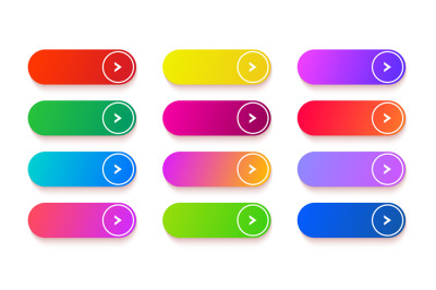 Gradient empty button. Colored vector rectangle web elements set. Long