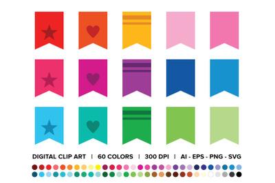 Bookmark Tab Flag Banner Clip Art Set