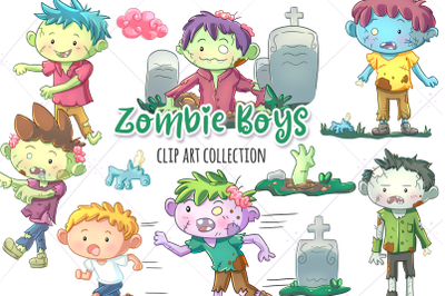 Zombie Boys Clip Art Collection