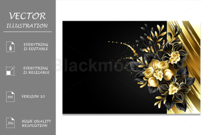 Design with Foil and Black Orchids