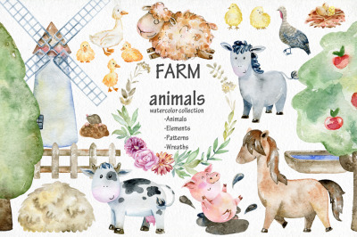 Farm. Watercolor collection.