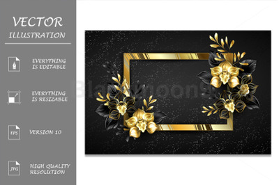 Golden Banner with Black Orchids