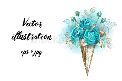 Waffle Cone with Turquoise Roses