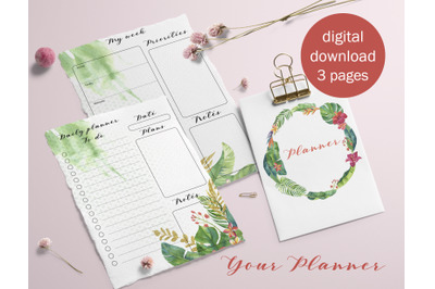 Planner ser with tropical flowers
