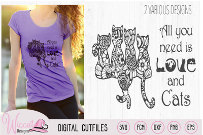 Doodle cats all you need is love, cat quote svg,