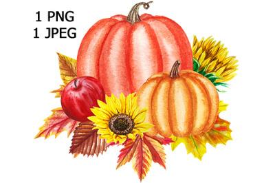 Watercolor autumn pumpkin