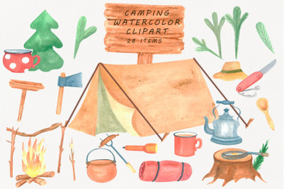 Camping Clipart watercolor