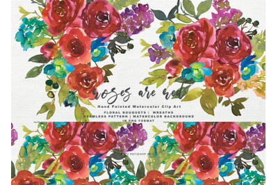 Watercolor Red Roses Clipart Set