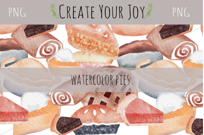 Watercolor Pies with Seamless Pattern | 12 PNGs