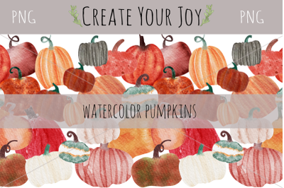 Watercolor Pumpkins | 16 PNG with Seamless Pattern