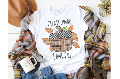 Oh My Gourd I Love Fall PNG - Sublimation - Hand Drawn - Pumpkin