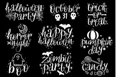 Text halloween in black background