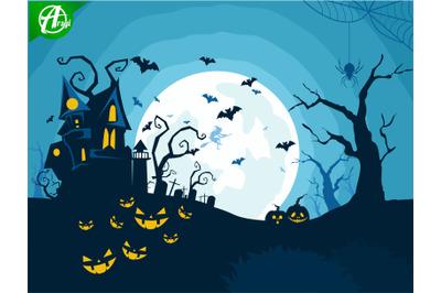 Halloween night background part 3