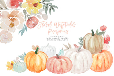 Pumpkin and Floral Watercolor fall clipart, Harvest illustration