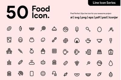 50 Food Line Icon