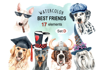 Dog watercolor clipart, Pet clip arts, Dog Set D