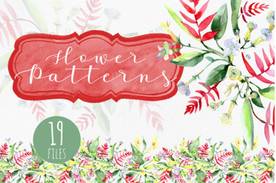 Bouquet watercolor and pattern background png