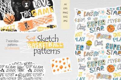 Set Sketch Basketball patterns
