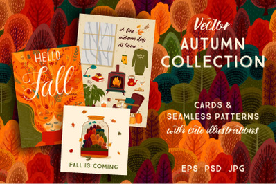 Autumn collection. Cards and patterns.
