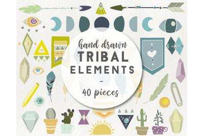 40 tribal elements - boho clipart, arrow clipart, feather cacti