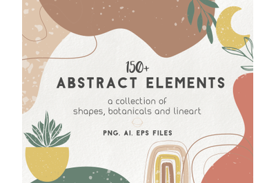 150 modern abstract elements - floral geometric minimal illustrations
