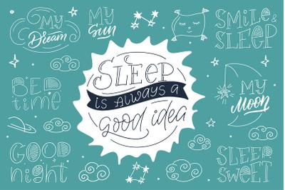 """Sleep time"" Hand drawn modern collection"