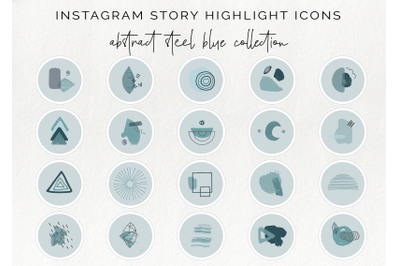 20 Instagram story highlight icons - abstract blue story covers