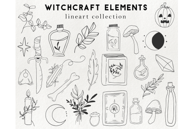 25 witchcraft elements - wizardry clipart, occult magic, halloween