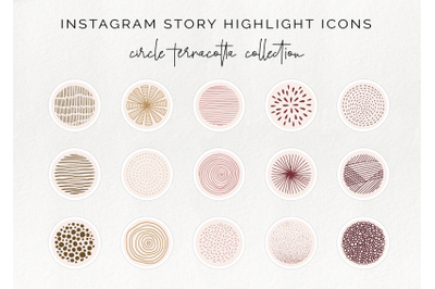 15 Instagram stories highlight icon - terracotta circle story template