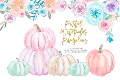 Pastel Pumpkins Watercolor Cliparts, Autumn Cliparts, Pumpkin Cliparts