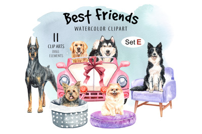 Dog watercolor clipart, Pet clip arts, Dog Set E
