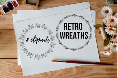 Round Circle Wreath Clipart, Retro Wreaths Clipart, Digital Wreaths, W