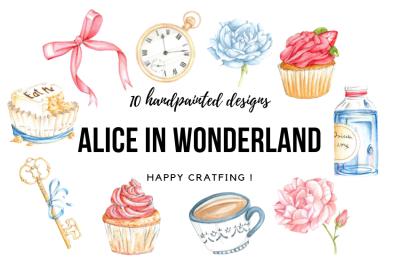 Alice in Wonderland Clipart Watercolor, Alice Clip Art, Alice graphic