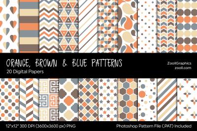 Orange, Brown & Blue Digital Papers
