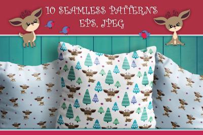 Cute Christmas Deer. Seamless patterns