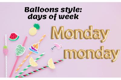 Gold Foil Balloon Letter, Names of week font, Digital Planner Stickers