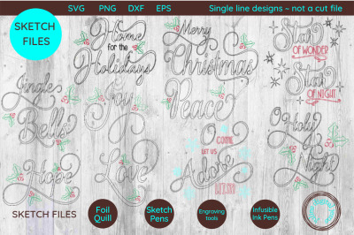 Single Line Foil Quill Sketch Christmas Sentiment bundle