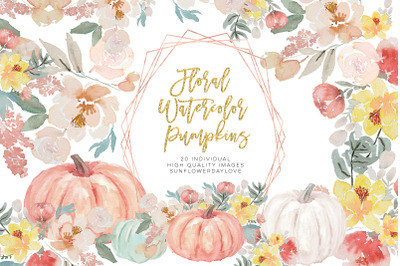 Autumn Watercolor Clipart, Fall Digital Download, Floral Fall Planner
