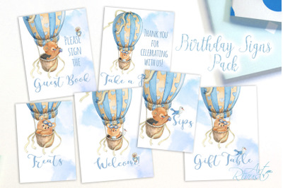 Printable Hot Air Balloons Baby Shower Table Signs - 6 Signs for Boys
